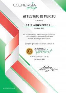 Attestato Green Specialist